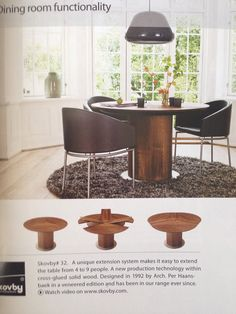 Skovby Round diningtable I am saving to have. U get it in different coloured wood and glas.