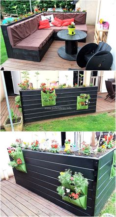 Patio should never be left as it is because it is a great place to be adorned for the seating, here is the idea to create the reclaimed wood pallet patio couch with backside planters which is affordable to create because of the inexpensive pallets available easily.