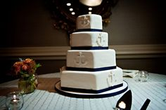 wedding cake, modern, fondant, nautical, anchor, blue, white, hexagon, octagon, sea theme,