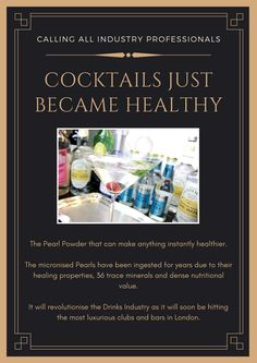 The Avocado of the Drinks Industry. 36 trace minerals and dense in nutrients, the Pearl Powder can make everything instantly just a little healthier... #drinks #health #healthydrinks #bartenders