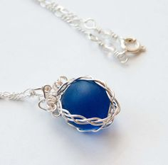 Blue Marble Necklace Gifts under 20 Bridal Wedding by mlwdesigns