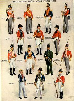 British and US uniforms of the War of 1812.