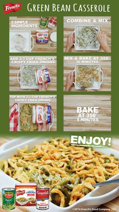 The essential holiday classic - French's Green Bean Casserole. Keto Recipes The essential holiday classic – French's Green Bean Casserole. Thanksgiving Sides, Thanksgiving Recipes, Holiday Recipes, Thanksgiving Green Beans, Christmas Recipes, Dinner Recipes, Greenbean Casserole Recipe, Casserole Recipes, French Green Beans