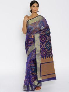Buy Bunkar Navy Banarasi Traditional Saree -  - Apparel for Women from Bunkar at Rs. 2049