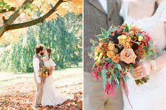 Autumn Rustic Wedding: Amy + Nate awesome orange and red bouquet