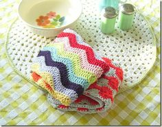 crochet dish towel--so much more doable than a whole blanket, and so useful too!