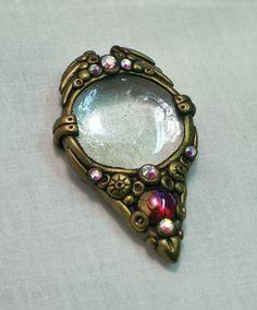 Polymer clay with glass gems & swarovski crystals pendant suncatcher dangle