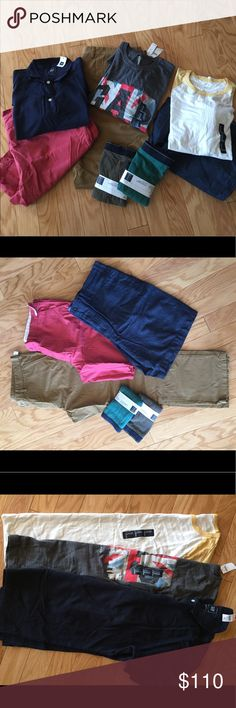 Men's spring/summer bundle Old navy• shorts• Salmon color• 42•tall/slim◾️Banana Republic• shorts• chambray•40• Aiden•slim fit ◾️Old navy • pants• khaki• 42x32•slim▪️GAP• square cut boxer briefs• 100% cotton• xl ▪️GAP• tshirt• yellow/off white•55%cotton 34% polyester 11%viscose•xl▪️GAP• graphic tshirt• grey•100% cotton•xl ▪️GAP•short sleeve polo shirt• navy blue•100%cotton•xl Banana Republic Other