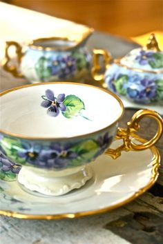 Osborne tea set-pansy tea set-tea by marionsvintagebakery on Etsy