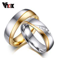 Vnox ringe für frauen mann ehering vergoldet 316l edelstahl versprechen schmuck