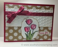 Birthday card using Blessed Easter from the Stampin' Up! 2014 spring Occasions mini catalog by Emily Mark SU demo Montreal. www.southshorestamping.com  AW09 sketch challenge