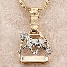 gold jewelry Ashley's Extended Trot Stirrup Necklace, gold, Ashley's Horse Jewelry - Ashley's signature two-tone solid yellow Equestrian Jewelry, Horse Jewelry, Cowgirl Jewelry, Turquoise Jewelry, Silver Jewelry, Fine Jewelry, Indian Jewelry, Vintage Jewelry, Peridot Jewelry