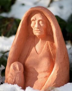 Danu of Air, beautiful terracotta altar statue by Karen Mander, displaying the ancient One of Air, of silence and deep knowing with Her sacred Owl. Altar, The Ancient One, Mother Goddess, Irish Celtic, Wise Women, Picts, Winter Solstice, Divine Feminine, Samhain