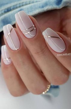 Manicure Nail Designs, Acrylic Nail Designs, Nail Manicure, Line Nail Designs, Neutral Nail Designs, Best Nail Art Designs, Nail Designs For Fall, Pedicure, Silver Nail Designs