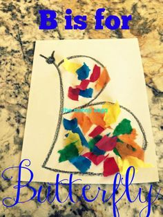 B is for butterfly craft. letter recognition crafts are great for toddlers and preschoolers!