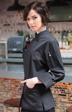 Elegant Black Chef Jacket for Women with sophisticated fine gray Pin Stripe woven fabric.  The executive Ladies Chef Jacket is available from ChefsEmporium.net