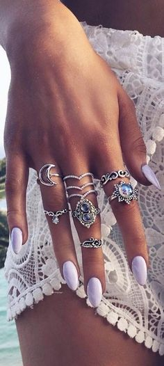 nails, rings, and boho image