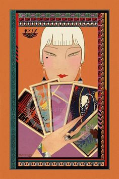 Very Art Deco Whimsical Flapper holding by DragonflyMeadowsArt, $25.00