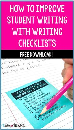 Writing checklist - How to Improve Student Writing With Writing Checklists – Writing checklist Paragraph Writing, Narrative Writing, Persuasive Writing, Teaching Writing, Writing Activities, Teaching English, Teaching Ideas, Writing Lessons, Writing Skills