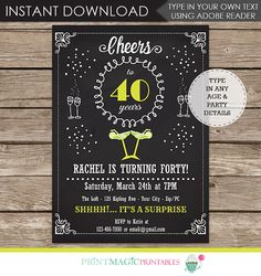 Margarita Party, Cocktail Party or Girls Night - Birthday Invitation with Editable Text to use for ANY AGE - 5x7 Invitation - Just type over my sample