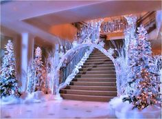 winter wonderland themed wedding! LOVE this! would be a perfect entrance to the reception