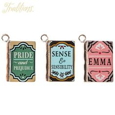 Jane Austen Book Charms Jane Austen Books, Book Necklace, Pride And Prejudice, Hobby Lobby, Fairy Tales, Charmed, Crafts, Accessories, Steampunk