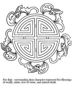 Bat Skull Painting, China Painting, Pattern Sketch, Pattern Design, Chinese Ornament, Motif Oriental, Feng Shui Art, Good Luck Symbols, Chinese Patterns