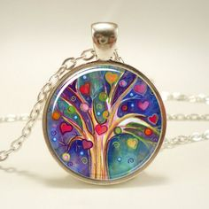 Tree of Life Pendant, Whimsical Illustration Tree And Heart Necklac...have this tattoo, LOVE this!