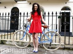 Great Britain's cyclist Victoria Pendleton poses with one of her bikes as she launches her own range of ladies cycles.