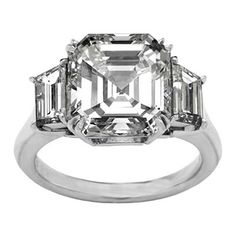 Platinum Asscher Diamond Engagement Ring with Large Trapezoid Diamonds side stones 1.10 tcw. Like Vanessa Minnillo's (Center diamond not included) This 950 platinum Asscher Diamond engagement ring setting similar to the one Vanessa Minnillo received from Nick Lachey features a large pair of trapezoid cut diamonds, make the perfect complement to your choice of a center diamond. The diamonds are 1.10 carat total weight. Also available in white, yellow and rose/pink gold. This ring is custom…