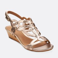 0db3e0590b4 Playful Tunes in Gold Leather - Womens Sandals from Clarks. Comfy summer  sandle with a small wedge!