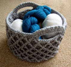 Stiff sided diamond trellis basket crocheted from stash yarn for storage - can be made in any size!