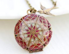 """Measurements: This locket is a combination of some of my favorite colors. Locket is 1 """" long. ----------------------------------------------- All of items made by myself :> Ruby Necklace, Locket Necklace, Pendant Necklace, Jewelry Shop, Jewelry Necklaces, Unique Jewelry, Small Bags, Bridesmaid Gifts, Resin"""