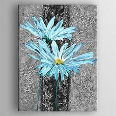 pintura a óleo moderna flor abstrata mão telas pintadas com esticada enquadrado – BRL R$ 215,43