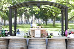 Wine barrel bar.