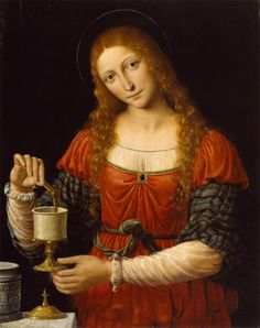 Andrea Solario or Bernardino Luini, Mary Magdalen, c.1524, oil on panel, 75.5 x 59.2 cm, Walters Art Museum, Baltimore. Source This depiction of Mary Magdalene and her ointment jar has been attributed...