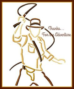 Indiana Jones Sketch Digital Embroidery Machine Design File 4x4 5x7 6x10 by Thanks4TheAdventure on Etsy