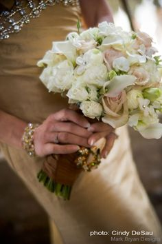 Blush pinks and whites in a stunning and elegant bouquet by Mark Bryan Designs.