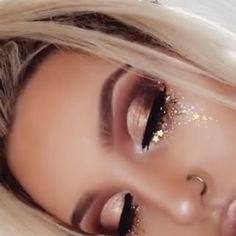 @anastasiabeverlyhills Stick Foundation 'Tan' @toofaced Born This Way Concealer @maccosmetics Give Me Sun #dollartree Gold Star Sequins @anastasiabeverlyhills Modern Renaissance Palette @peachesmakeup 'Famous' Pigment @meltcosmetics Dark Matter Eyeshadow STACK @hudabeauty 'Farrah...