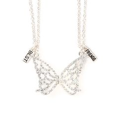Best Friends Iridescent Crystal Butterfly Wings Pendant Necklaces Set of 2 | Claire's