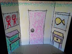 Diy Elmo's World photo booth backdrop.  Made this in about 30 mins.  Easy use a trifold presentation board from target for about 4.00.