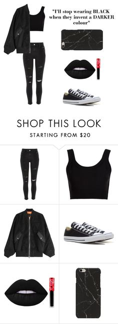 """ADDICTED TO BLACK"" by t-r-j ❤ liked on Polyvore featuring River Island, Calvin Klein Collection, Alexander Wang, Converse and Lime Crime"