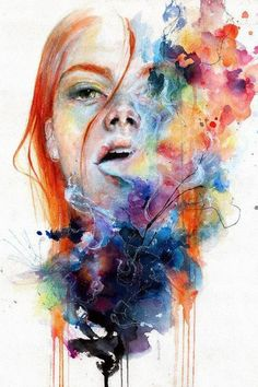 The artist silvia pelissero known as agnes cecile shows her skills in these Watercolor Art Lessons, Watercolor Art Diy, Watercolor Art Paintings, Watercolor Portraits, Watercolor Water, Watercolor Journal, Flower Watercolor, Watercolor Tattoos, Abstract Portrait