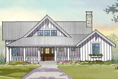Farmhouse Style House Plan - 3 Beds 3.5 Baths 2597 Sq/Ft Plan #901-110 Exterior - Front Elevation - Houseplans.com