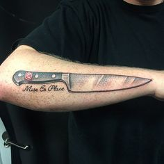 Got to tattoo this classic Wusthof chef knife on @chris_paolello thank you for your trust and endless support this was so fun