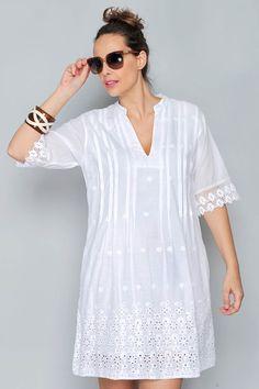 Embroidery Blouse Designs White 51 Ideas For 2019 Simple Dresses, Nice Dresses, Summer Dresses, White Frock, White Fashion, Lace Tops, Blouse Designs, Dress Skirt, Ideias Fashion