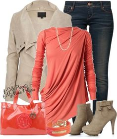 beige  jacket  dark denim jeans, coral blouse cute boots with bow