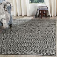Shop for Safavieh Hand-Woven Montauk Ivory/ Dark Grey Cotton Rug (8' x 10'). Get…