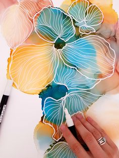 Posca and alcohol ink flowers from the Floral Collection. By JulieMarieDesign.