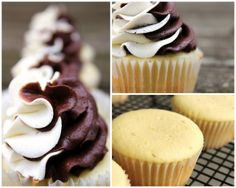 Lemon flavoured cake batter, chocolate and white vanilla frosting
